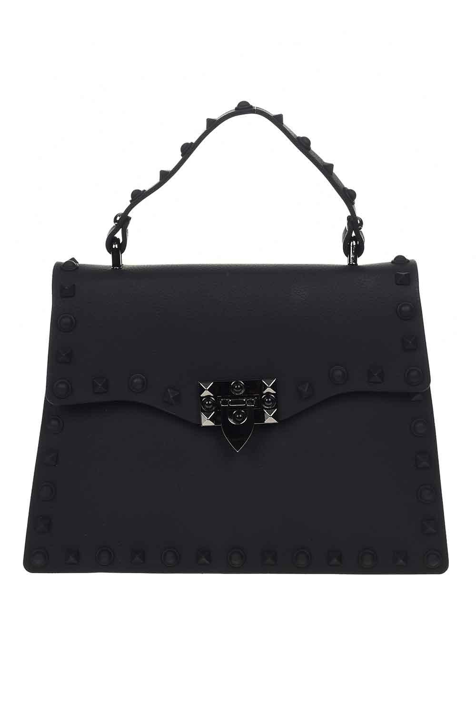 MIZALLE حقيبة يد لينة مع اللكمات (أسود) (1)
