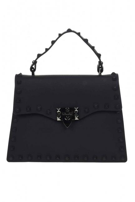 MIZALLE - حقيبة يد لينة مع اللكمات (أسود) (1)