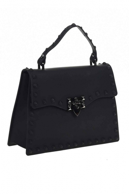 حقيبة يد لينة مع اللكمات (أسود) - Thumbnail