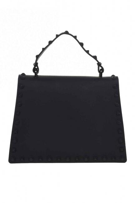 Zımbalı Soft Kol Çantası (Siyah) - Thumbnail