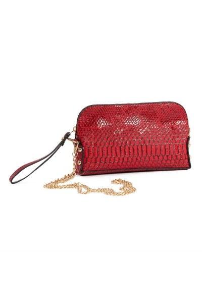 حقيبة كتف نسائية صغيرة مع حزام سلسلة (بورجوندي) - Thumbnail