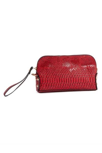 MIZALLE - حقيبة كتف نسائية صغيرة مع حزام سلسلة (بورجوندي) (1)