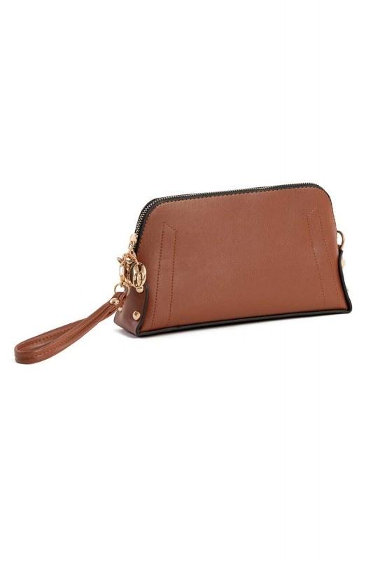 حقيبة كتف نسائية صغيرة مع حزام سلسلة (بني فاتح)