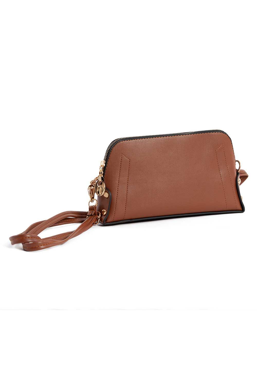 MIZALLE حقيبة كتف نسائية صغيرة مع حزام سلسلة (بني فاتح) (1)