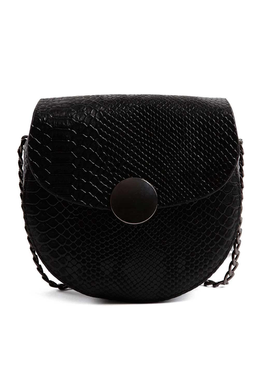 MIZALLE سلسلة منقوشة ، حقيبة كتف نسائية (أسود) (1)