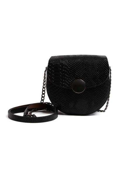 سلسلة منقوشة ، حقيبة كتف نسائية (أسود) - Thumbnail