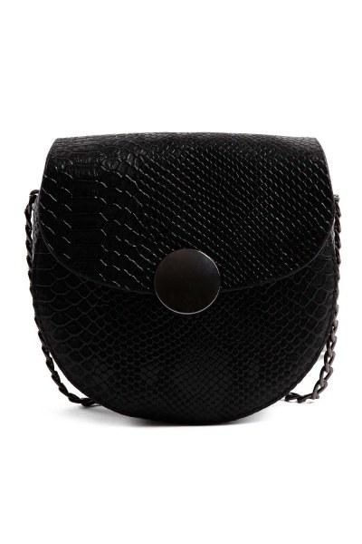 MIZALLE - Zincirli Desenli Kadın Omuz Çantası (Siyah) (1)