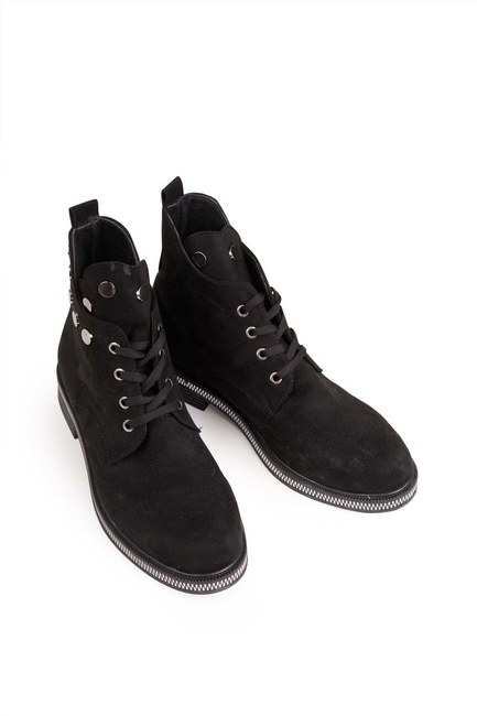 MIZALLE - Chain Detailed Lace-up Boots (Black) (1)