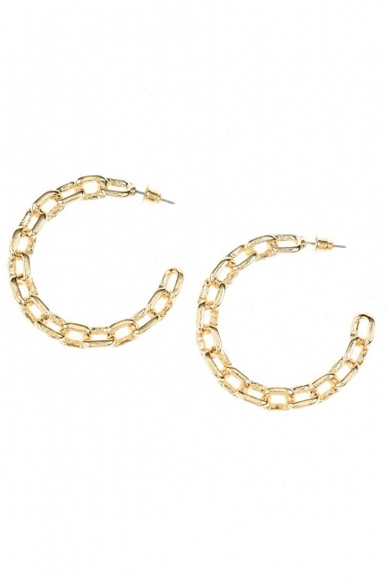 Chain Detailed Ring Earrings (Small) (St) - Thumbnail