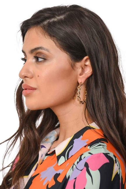 MIZALLE - Chain Detailed Ring Earrings (Small) (St) (1)