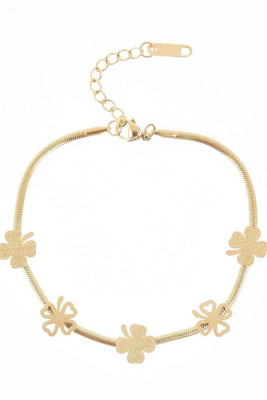 MIZALLE Clover Detailed Steel Bracelet (Gold) (1)