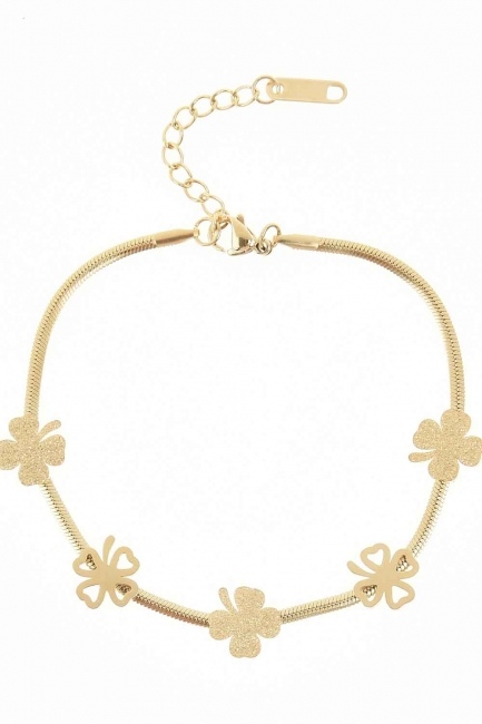 MIZALLE - Clover Detailed Steel Bracelet (Gold) (1)