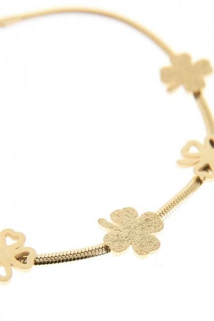 Clover Detailed Steel Bracelet (Gold) - Thumbnail