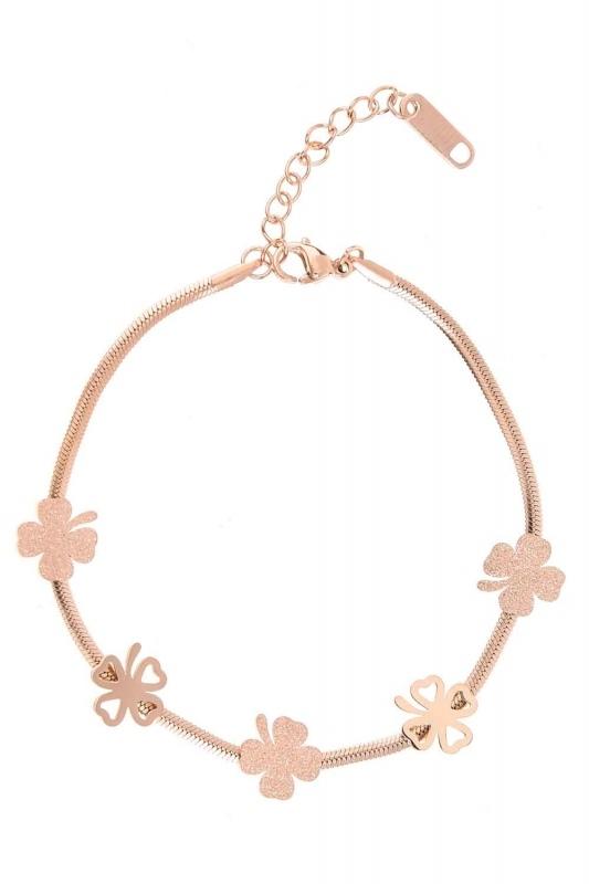 Clover Detailed Steel Bracelet (Rose)