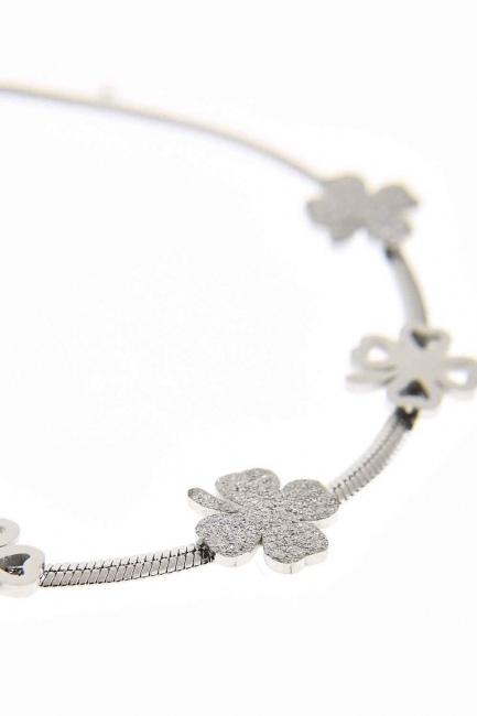 Clover Detailed Steel Bracelet (Silver) - Thumbnail
