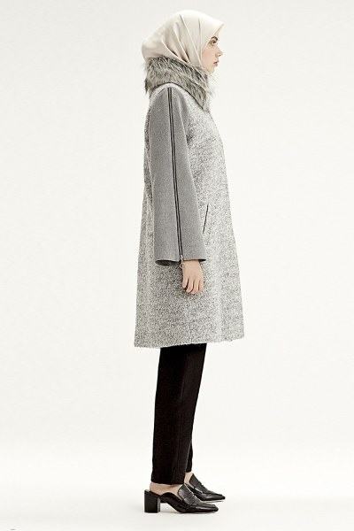 Zipped Sleeve Fur Collar Coat (Grey) - Thumbnail