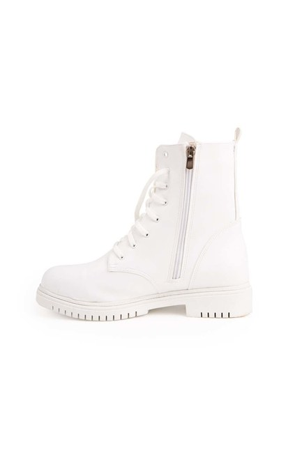 MIZALLE - Zippered Postal Boots (White) (1)