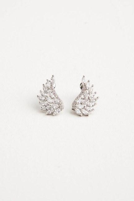 MIZALLE - Zircon Angel Winged Earrings (Grey) (1)