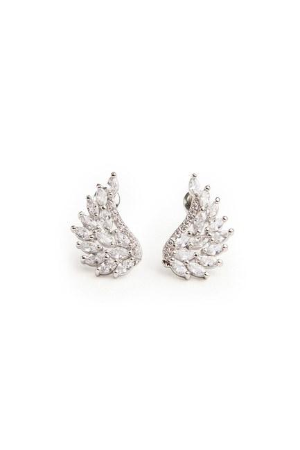MIZALLE Zircon Angel Winged Earrings (Grey)