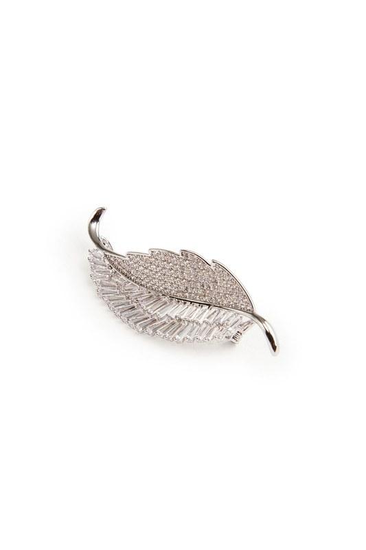 Zircon Leaf Brooch