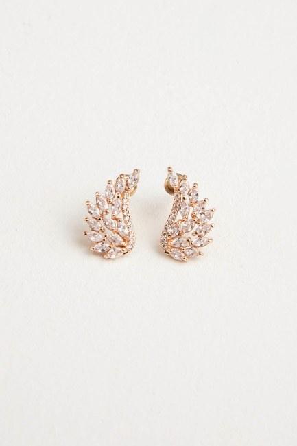 Zircon Angel Winged Earrings (Gold) - Thumbnail