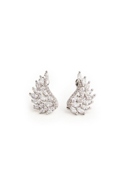 MIZALLE - Zircon Angel Winged Earrings (Silver) (1)